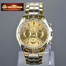 Montre Homme Gold Couleur Or Argent | Gold Man Watch Gold Silver Colours