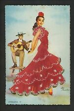Embroidered clothing postcard Artist Elsi Gumier, Spain, Andalucia woman #19