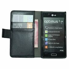 Black Wallet Leather Flip Case for LG Optimus L7 II (P710) - Cover Holster Pouch