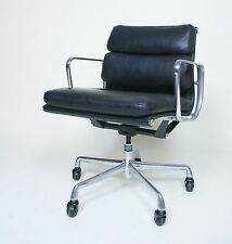 Eames Herman Miller Soft Pad Aluminum Group Chair Black Leather Mint Sets Avail