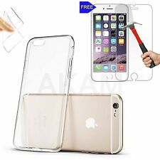 iPhone 6 6G Soft Crystal Clear Gel Back Case Cover With Free Real Tempered Glass
