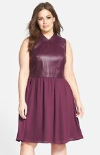 NEW SEJOUR Lamb Leather Front Fit & Flare Dress Sz 20W & 24W Plum/Black $250