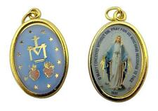 Gold Plate and Enameled Our Lady of Grace the Miraculous Medal Pendant 1 Inch