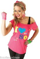 Pink I Love the 80s Punk Retro Neon T-Shirt 1980's Fancy Dress All Sizes