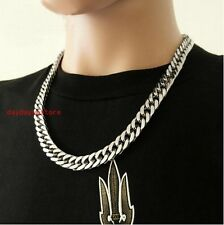 """23.6"""" 9mm Piphop Silver Stainless Steel Men Women Cuban Link Curb Chain Necklace"""