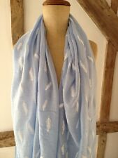 Scarf. Vintage Style Embossed Feather Printed Scarf In Baby Blue And White.