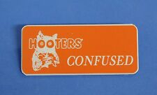 HOOTERS RESTAURANT GIRL CONFUSED ORANGE NAME TAG / PIN -  Waitress Pin