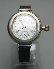 "Antique Solid Silver Longines Borgel ""Officers"" Wrist Watch in Very Good Cond."