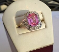 UBER RARE ANTIQUE OSTBY BARTON RASPBERRY PINK CRYSTAL 10K FILIGREE RING TITANIC