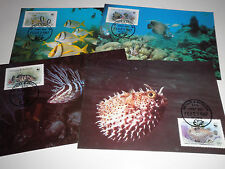 "ANTIGUA BARBUDA 1987 ""WWF- FISH"" 4 POSTCARD LOT (CAT.5A)"