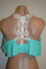 NWT Jessica Simpson Swimsuit Bikini Bra Top Crochet Ruffle Mint Sz  L