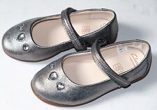 Clarks Dance Pop Silver Leather girls shoes size UK 6.5/23 F