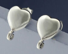 925 Sterling Silver 2 Pairs of Heart Earrings Post Findings 8.5 mm.
