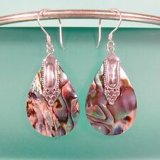 "1"" Round Abalone Paua Shell  Handmade 925 Solid Sterling Silver Dangle Earrings"