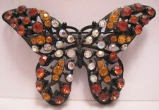 Old Sparkly Rhinestone Butterfly Pin w/ Wire Frame Signed Florenza Vintage