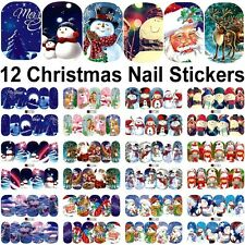 12 Sheets Christmas water transfer nail art decoration stickers decals Xmas 1520