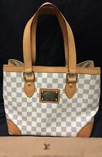 LOUIS VUITTON Hampstead Tote in AZUR Checker Pattern White