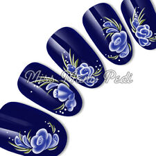 Nail Art Water Transfers Wraps Decals Blue Oriental Flowers Leaves Floral G013
