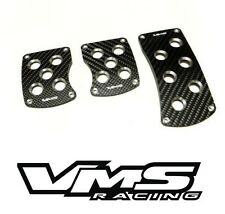 VMS RACING BLACK CARBON FIBER PEDAL PAD COVER KIT MANUAL TRANSMISSION MT 3PC #3