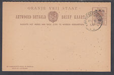 Orange Free State H&G 30 used 1900 1p +1p on 1p + 1p Postal Reply Double Card