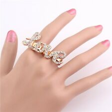 New Nice Charm Hot Rhinestone Crystal Love Two Fingers Rings Adjustable