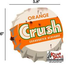 "6"" RUSTY LOOKING ORANGE CRUSH CAP DECAL FOR SODA MACHINE WALL SIGN coca cola"