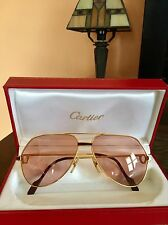 Authentic Vintage Cartier Santos Vendome Gold Aviator Sunglasses RARE