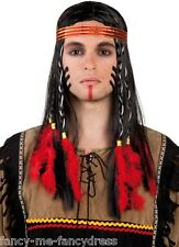 Adult Mens Indian Brave Wig With Feathers Fancy Dress Costume Outfit Wig
