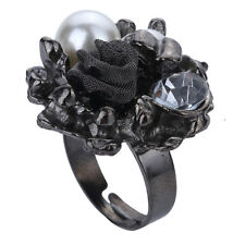 Black Rose Ring For Women Bridal Wedding Prom Lovely Fashion Jewelry Premier