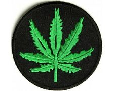 "(A56) MARIJUANA LEAF 3"" x 3"" sew / iron on patch (2400) Hemp"