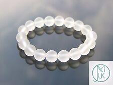 """Satinato Rock Crystal 10mm Natural Gemstone Bracciale con Perline 7-8"""" elasticizzata"""