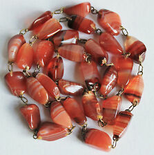 Victorian vintage red banded agate long bead necklace