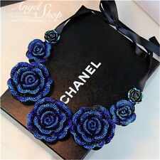 Fashion Women Blue Crystal Flower Choker Chain Bib Statement Pendant  Necklace