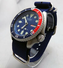 7s26 skx SEIKO MOD AUTOMATIC SCUBA DIVERS WATCH BEAD BLASTED PEPSI BLUE DIAL
