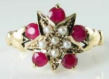"""RARE 9CT GOLD ART DECO INS RICH RUBY & PEARL """"STAR"""" RING"""