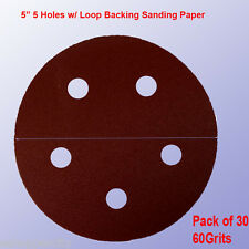 "30x 5"" 5 Hole 60 Grits Sandpaper Disc Sander Hook and Loop for Porter Cable 334"