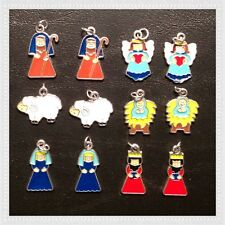 12 Enamel Nativity Religious Church Charms Jewelry Making Bracelets Earrings K9