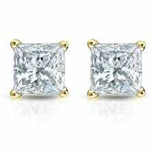 2.00CT Princess Cut Solitaire Lab-Created Diamond Earrings 14k Yellow Gold Pushb