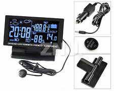 "Black LCD Car Voltage Monitor W/Temperature Thermometer DIGITAL Clock D/F""In/OUT"