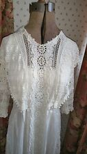 ANTIQUE VICTORIAN EDWARDIAN LACE PARTY LAWN TEA WEDDING DRESS Fabulous Drippings