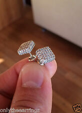 Mens & Ladies 18K W Gold Finish Lab Diamond Screw Back Stud Earring JORGE