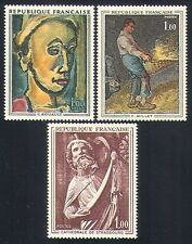 France 1971 Art/Paintings/Portrait/Statue/Cathedral/Artists 3v set (n32995)