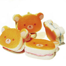 Kawaii Bear Squishy Hamburger Soft Bear Bread Scented Straps Phone Charm Fun Toy
