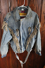 Size XL Faded Denim Jacket by DURANGO JOE with Light Brown Leather Fringe Trim