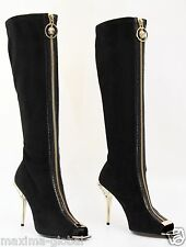 New VERSACE Knee High Black Suede Boots with gold Medusa heel and open toe 39-9