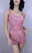 Vintage 1950s 50s Pink MCM Tiki Print Cotton Super Cute Swimsuit Bathing Suit S