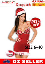WOMENS SEXY LINGERIE Crystal Looks Xmas Christmas Santa Claus Dress COSTUME