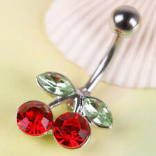 Hot Pretty Rhinestone Red Cherry Navel Belly Button Barbell Ring Body PiercingFT