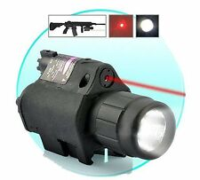 Hunting CREE Flashlight +Red Laser Sight w/Weaver Rail For Pistol/Glock17 19 #c9