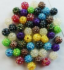 100pcs/lot 10mm mixed micro pave loose resin shamballa beads bracelet spacer